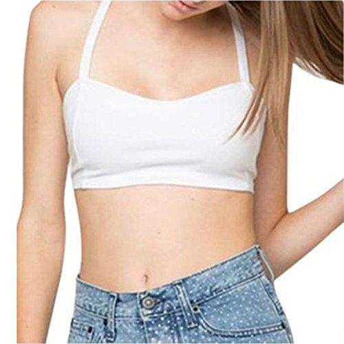 Besde Women Padded Bra Crop Sleeveless Strap Bustier Beach Tops Tank Shirt Blouse (White)