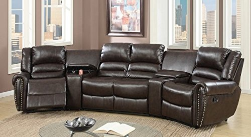 Ginevra Brown Bonded Leather Motion Home Theater by (Brown Leather Motion Home Theater)