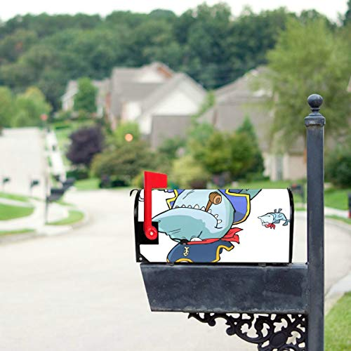 THKDSC Cartoon Pirate Shark with Shipwreck Mailbox Covers Standard Size Original Magnetic Mail Cover Letter Post Box 21