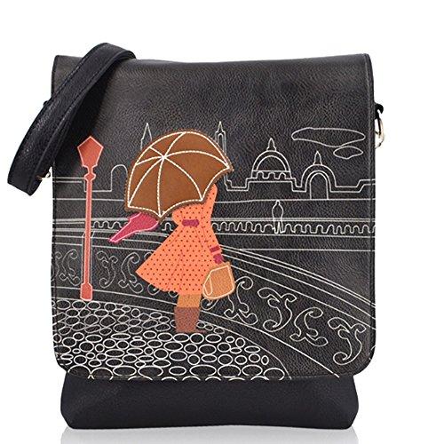 Woman Bag Cross Messenger and Sized Medium PU Black Body Umbrella WwnIBAqSIP