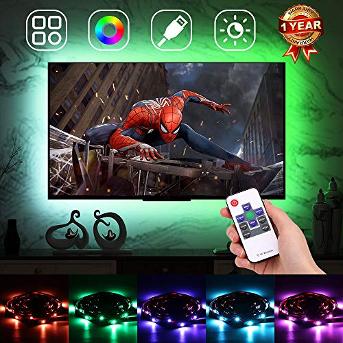 Premium Backlight for TV, LED TV Light Strips, TV Backlight Strip for 46-65in, TV Accent Lighting for HDTV 4 Sides, RGB USB Backlight with RF Remote Controller & Strong Adhesive Tape