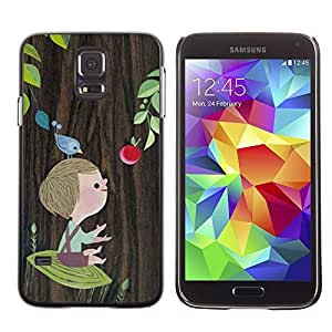 Design for Girls Plastic Cover Case FOR Samsung Galaxy S5 Boy Mother Mom Mommy Tree Drawing OBBA
