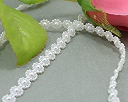 Beading Supplies, 5 yards 10mm Plastic Ivory Flower Pearl Bead String Chain Wedding invitation Trim, Beading String