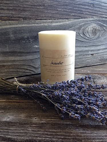 Amazon.com: Premium Soy Pillar Candle Lavender Scented Soy ...