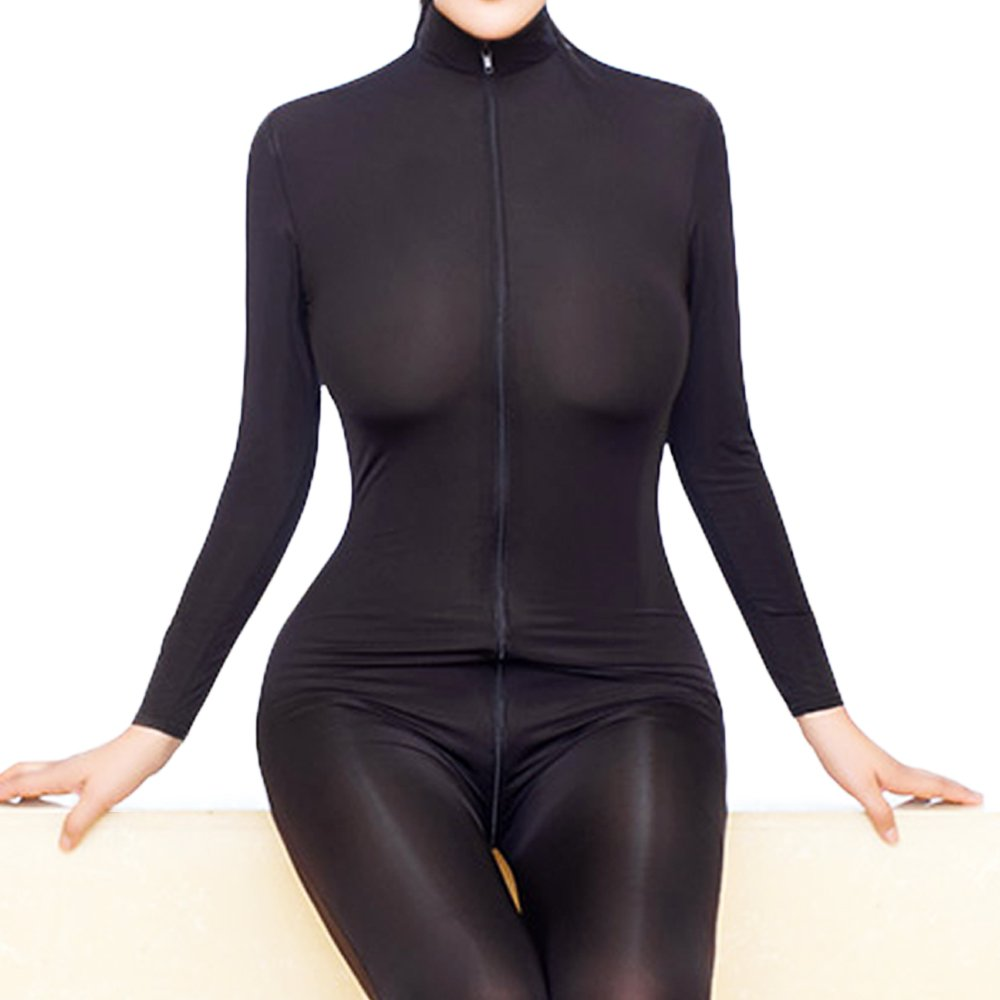 ALIXIN-CP006 Womens One Piece Unitard Completo Body Tights Skin One Piece Dancewear Unitard Body Front Zip Spandex Body Night Club Costume,Zipper Manica Lunga con Apertura sul Cavallo Lingerie Salti