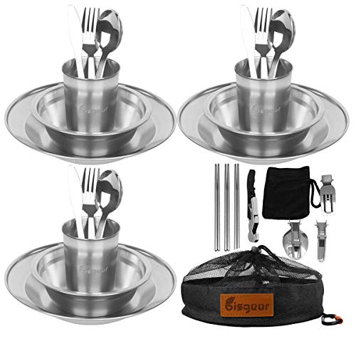 Bisgear 27pcs Stainless Steel Tableware Mess Kit Includes Plate Bowl Cup Spoon Fork Knife Chopsticks Carabiner Wine Opener Dishcloth & Mesh Travel Bag for Backpacking & Camping (Black (27pcs))