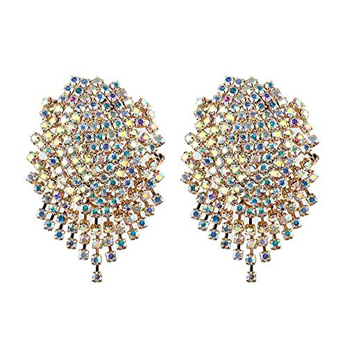 Barabum Vintage Crystal Tassel Stud Earrings For Women Bohemian Wedding Party (AB Multi) ()