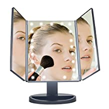 SM216-DL Beauty Mirror Makeup Mirror Touch Sensor Cosmetic Mirror with Base Three Sides Folding Table Mirror Vanity Regular Mirror