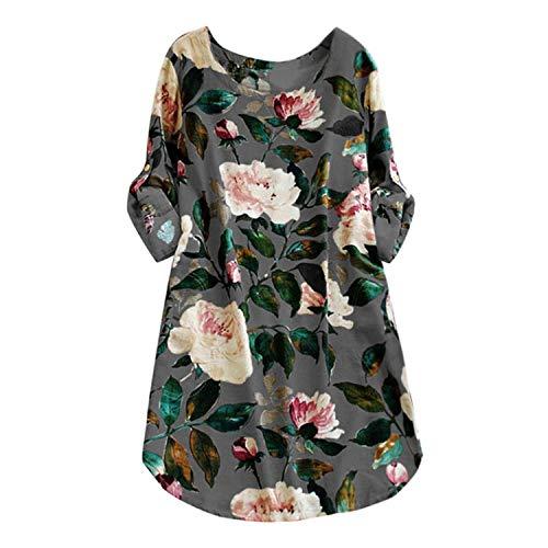 ba7659f955f baqijian Women Plus Size Dress Floral Print Long Sleeve Spring Dress O Neck  A-Line Shift Casual Mini Dress Gray