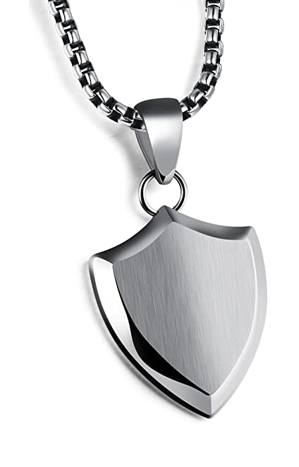 Amazon mens titanium tag pendant mens stainless steel mens titanium tag pendantmens stainless steel pendant necklace chainmen shield stainless steel mozeypictures Images