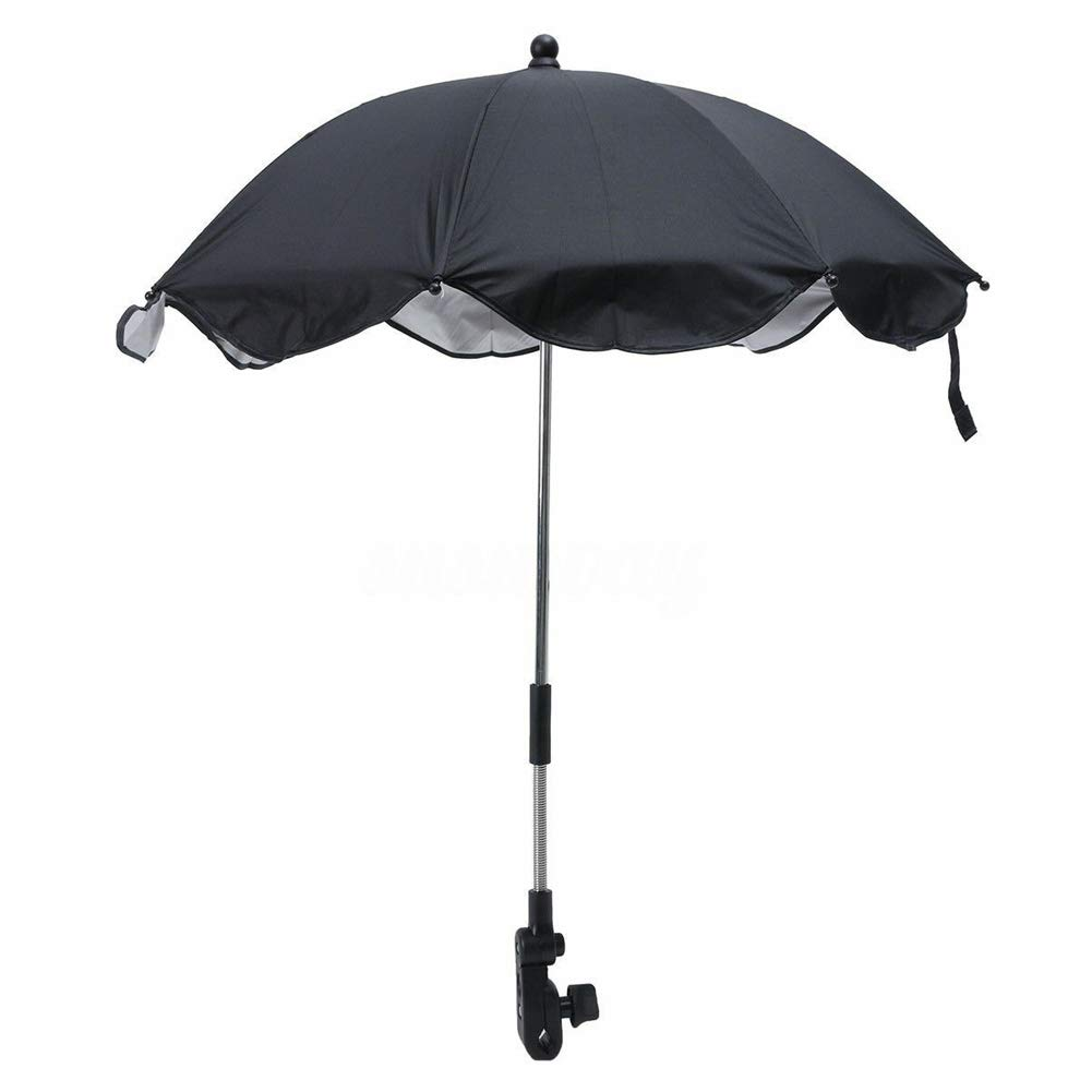 Baby Stroller Umbrella Outdoor Steel Structure Practical Flexible Arm Pushchair Sun Shade Detachable Wheelchair Parasol Manual Open Canopy Adjustable Clip