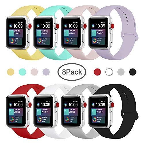 ENANYN Compatible Apple Watch Band 38mm 40mm 42mm 44mm Soft Silicone Sport Wrist Strap iWatch Replacement Bracelet Wristbands for Apple Watch Series 4,3,2,1 of Size S/M,M/L (8 Colors, 42mm/44mm S/M.)