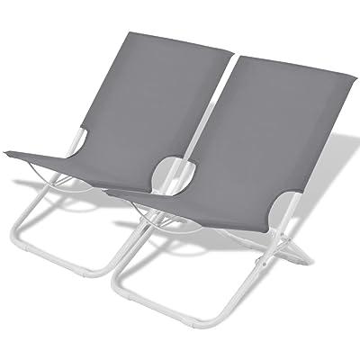 vidaXL 2x Chaises Pliantes de Camping Plage Jardin 48x60x62 cm