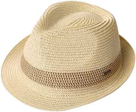 767112696f72ad Packable Straw Fedora Panama Sun Summer Beach Hat Cuban Trilby Men Women  55-61cm