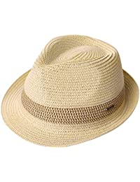 eaae76f32a4a8a Packable Straw Fedora Panama Sun Summer Beach Hat Cuban Trilby Men Women  55-61cm