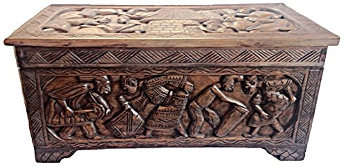 African Carved Wooden Handmade Trunk Chest/ Center Table