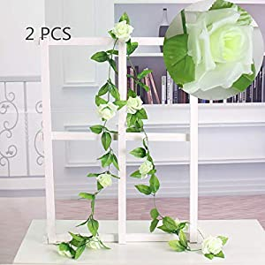 Easytogoo 2 Pack 7.7ft Foliage Simulation Silk Flowers, Artificial Fake Rose Vine Garland Flowers Plants for Hanging Wedding Garland Wedding Wall Decor Home Garden Office Outside Decoration (White) 17