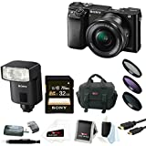 Sony a6000 24.3 MP Camera w/ 16-50mm Lens (Black) + HVL-F32M External Flash