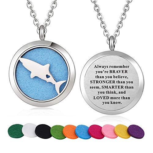 Locket Lovers - WPFdesign Stainless Steel Shark Fish Aroma Therapy Aromatherapy Essential Oil Diffuser Necklace Locket Pendant (Style 26)