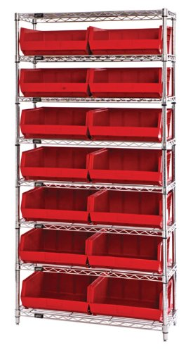 (Quantum Storage Systems WR8-250BK 8-Tier Complete Wire Shelving System with 14 QUS250 Black Giant Open Hopper Bins, Chrome Finish, 14