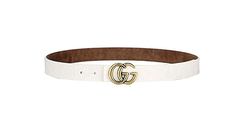 Women's black fashion, GG neutral business casual belt.