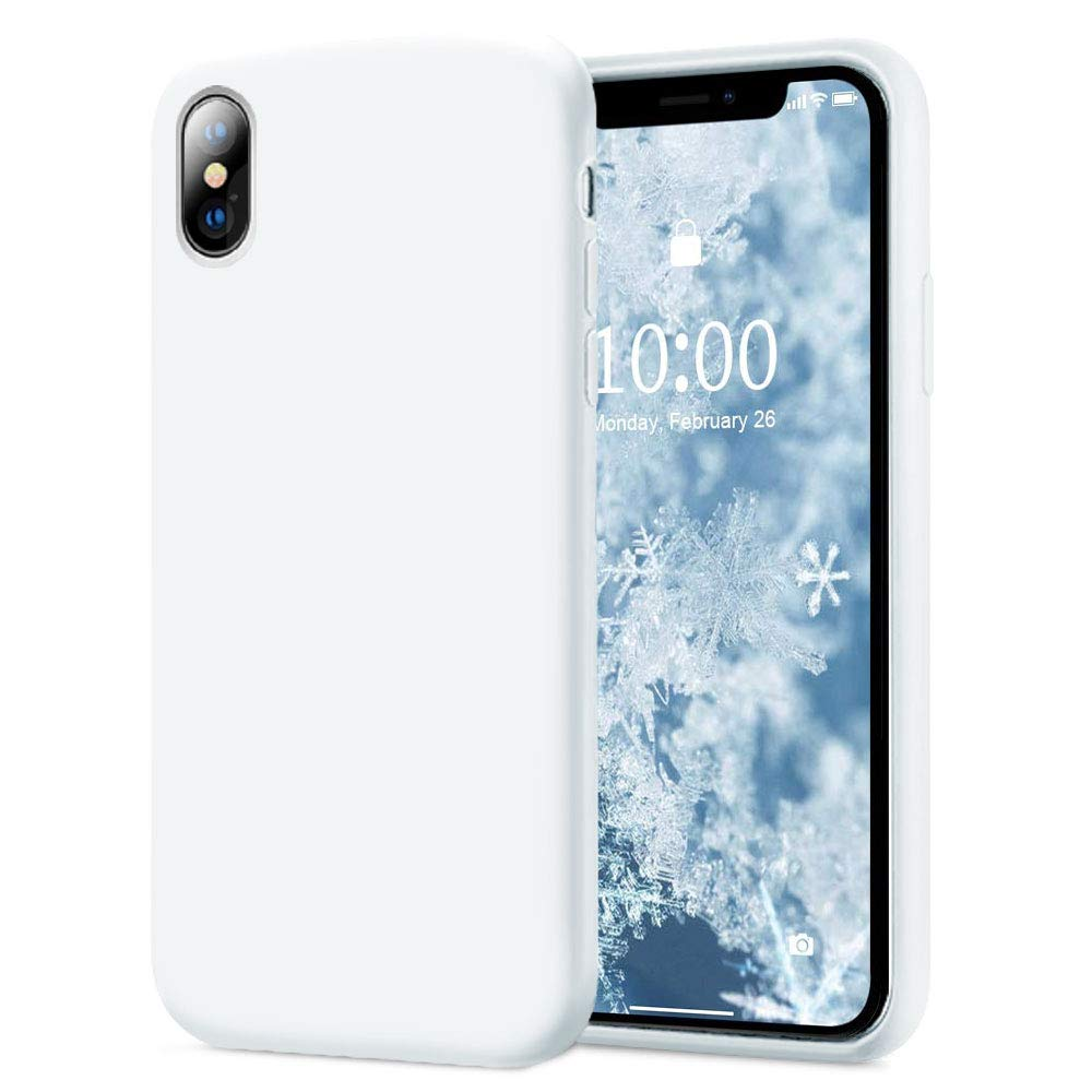 KUMEEK iPhone X/Xs Case, Soft Silicone Gel Rubber Bumper Case Anti-Scratch Microfiber Lining Hard Shell Shockproof Full-Body Protective Case Cover for Apple iPhone X/iPhone Xs-White
