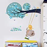 IndButy Wall Stickers Cartoon children room baby bedroom decoration article stickers Cute Elephant Swing Kindergarten Classroom Self-adhesive wall sticker painting 60100CM