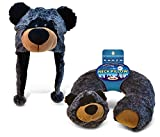 Puzzled Black Bear Collection - Super Soft Plush Hat and Neck Pillow, Set of 2