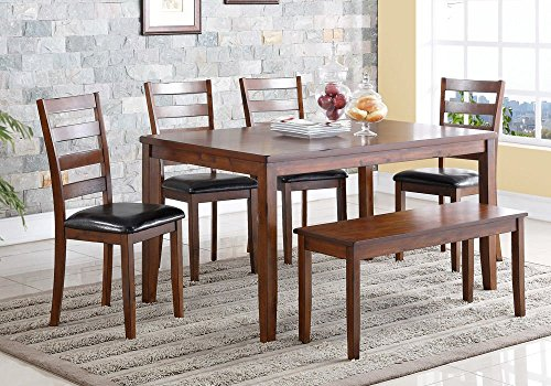 1PerfectChoice Sunset Dining Table Set Side Chair Deep Mocha Upholstered PU Seat Wooden Bench