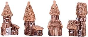 Beauy Girl 4pcs Miniature Fairy Garden Wood House, Micro Village House Fairy Garden Kits Figurines, Thatched Huts Mini Fairy Cottage House for Bonsai Terrarium Fairy Garden Dollhouse Decor