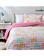 Amazon Basics Kids Unicorn Castle 100% Cotton Reversible Quilt Bedspread - Twin, Unicorn/ Bubblegum Pink