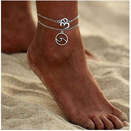 (Olbye Layered Wave Anklet Bracelet Double Chain Anklets for Women and Girls Layering Silver Beach Foot Chain Jewelry (2 Layer))