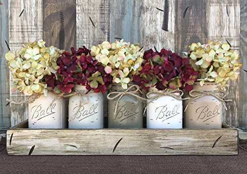 Lodge Pine Coffee Table (Mason Canning JARS in Wood ANTIQUE WHITE Tray Centerpiece with 5 Ball Pint Jar -Kitchen Table Decor -Distressed -Flowers (Optional)- SAND, THISTLE, PEWTER, CREAM, COFFEE Painted Jars (Pictured))