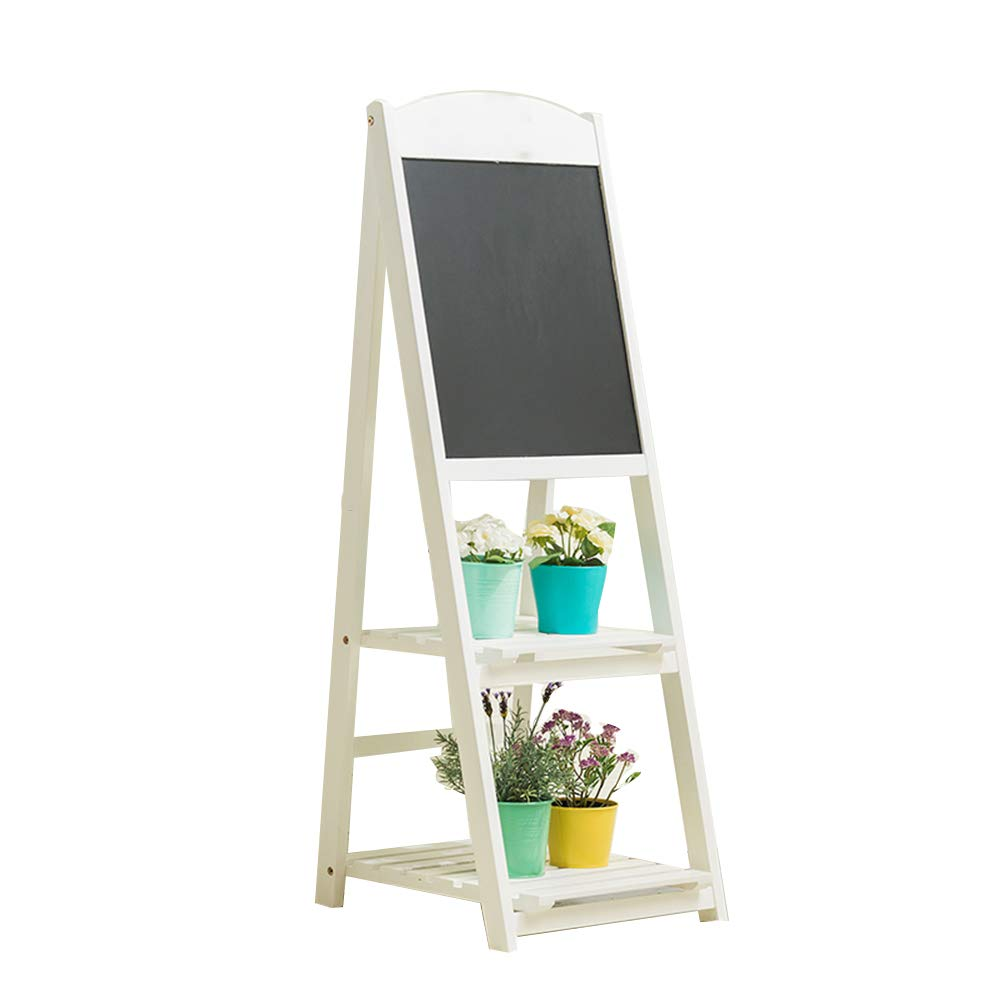 LIANGJUN Message Board Chalkboards Solid Wood Label Flower Stand Storage Indoor/Outdoor Coffee Shop Bar, 2 Layer, 2 Colors (Color : A-White, Size : 45x42x115cm)
