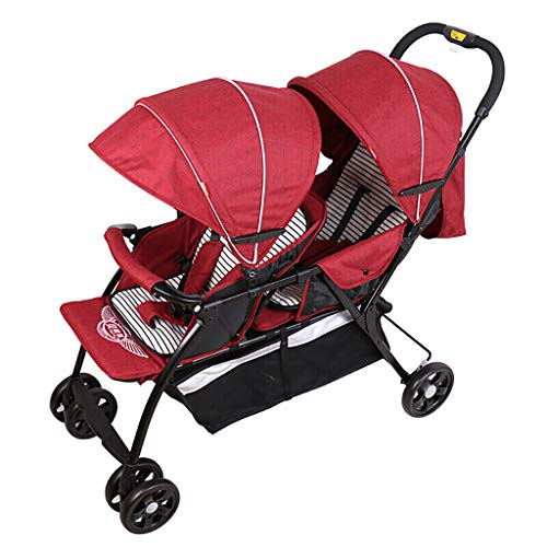 Tandem Double Toddler, Twin Stroller, Baby Cart Front and Rear Seat, Lightweight Child Trolley, Reclining Seats