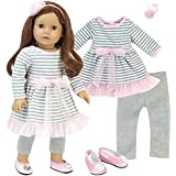 Complete 18 Inch Doll Outfit | 4 Pc Set | Gray and White Striped Dress with Pink Hem, Flower Hair Accessory, Gray Leggings and Pink Shoes