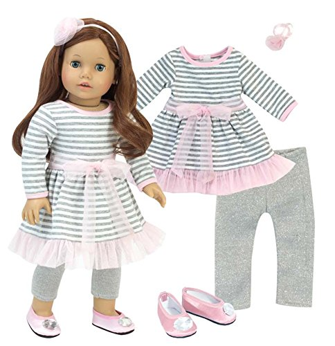 Gathered Bow Flats (Complete 18 Inch Doll Outfit | 4 Pc Set | Gray and White Striped Dress with Pink Hem, Flower Hair Accessory, Gray Leggings and Pink Shoes)