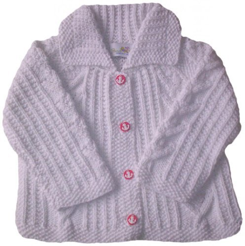 (JuneBee Baby, Inc. My Trendy Toddler Cotton & Bamboo Knit Cardigan - White with Anchor buttons - 3T)