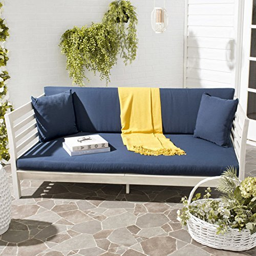 Malibu Sectional Sofa - Safavieh Outdoor Collection Malibu Antiqued White/ Navy Acacia Wood Cushioned Daybed