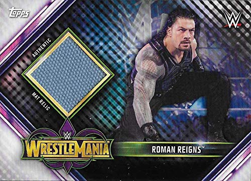 2019 Topps Road to WrestleMania Mat Relics #MR-RR Roman Reigns NM-MT MEM WrestleMania 34 Official WWE Trading Card from Road to WrestleMania