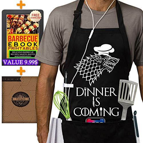 Grill Aprons Kitchen Chef Bib - Famgem Dinner is Coming Professional for BBQ, Baking, Cooking for Men Women / 100% Cotton, Adjustable 3 Pockets, Black]()