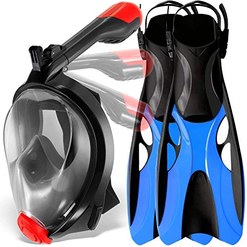 cozia design Snorkel Set with Foldable Snorkel MASK - Swim FINS Included - Premium Set Ocean View 180 Full Face Snorkel Mask with Go Pro Mount - Foldable Tube and Flippers