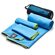 Large Microfiber Towels Quick Dry Blue - Travel Fast Drying Super Absorbent Body, Hand & Face Towel - Personalized Large Beach Yoga Cooling Hair Wrap Rag Towel for Men & Women Gym Bag Toiletry