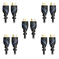 C&E CNE72822 High Speed HDMI Cable with Ethernet 1.5-Feet Supports 3D and Audio Return, 5 Pack