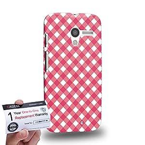 Case88 [Motorola Moto X (1st Gen)] 3D impresa Carcasa/Funda dura para & Tarjeta de garantía - Art Coloured Doodle Patterns Pink Checker