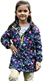 EGELEXY Kids Girl Flower Print Hooded Waterproof Raincoat Jacket Coat size 6T (Blue)