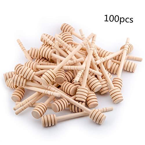 100-Pack 6 Inch Portable Wooden Jam Honey Dipper Honey Sticks for Honey Jar Dispense Drizzle Honey