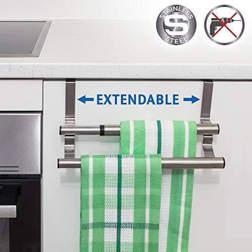 Tatkraft Double Extendable Over Cabinet Door Towel Rail Stainless Steel 9.8-15.7 X 5.5 X 4.7