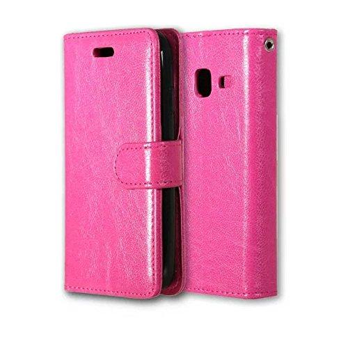 JIALUN-Personality teléfono shell Funda de cuero de la PU del color sólido de Samsung J1 2016 con cubierta de la caja de Kickstand magnética de la cubierta del silicón para Samsung J1 mini J105 Seguri Rose