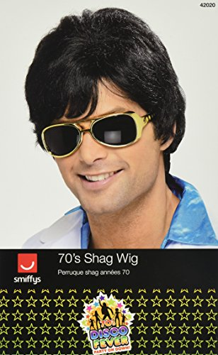 [Smiffy's Men's Short Black Wig with Side Bangs, One Size, 70's Shag Wig, 5020570420201] (Halloween Costumes Black Wig)
